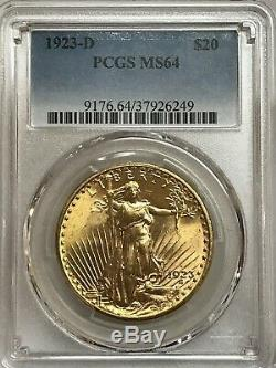 1923-d $20 Saint Gaudens Gold Double Eagle PCGS MS64 Beautiful! 37926249