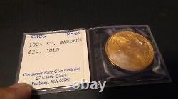 1924 $20 Gold Coin St Saint Gaudens Double Eagle CRCG Mint 65
