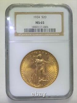 1924 $20 Gold Coin St Saint Gaudens Double Eagle NGC MS65