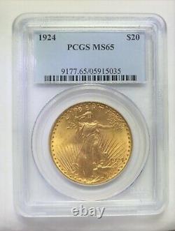 1924 $20 Gold Coin St Saint Gaudens Double Eagle PCGS MS65