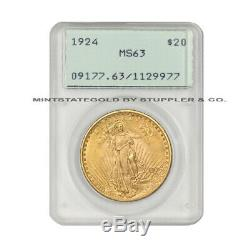 1924 $20 Gold Saint Gaudens PCGS MS63 Rattler Original Green Holder Double Eagle