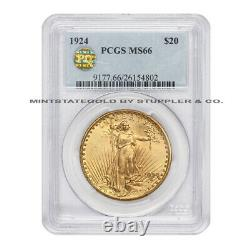 1924 $20 Gold Saint Gaudens PCGS MS66 PQ Approved Gem Graded double eagle coin