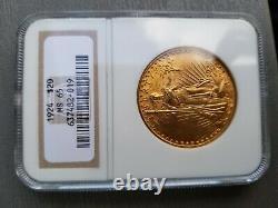 1924 $20 Gold St Gaudens Double Eagle GNC MS65