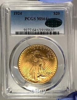 1924 $20 PCGS MS 64+ CAC St. Gaudens Gold Double Eagle