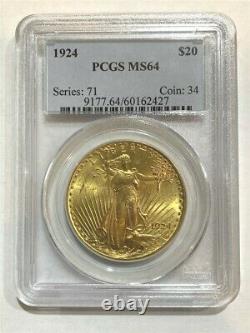 1924 $20 PCGS MS-64 Gold Double Eagle Saint Gaudens Coin