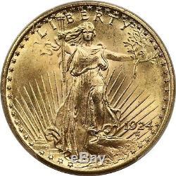 1924 $20 PCGS MS 65 + Saint-Gaudens Gold Double Eagle