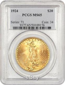 1924 $20 PCGS MS65 Saint Gaudens Double Eagle Gold Coin