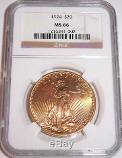 1924 $20 Philadelphia Gold GEM St Gaudens Double Eagle NGC MS66
