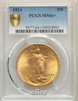 1924 $20 Philadelphia St Gaudens GEM Gold Double Eagle PCGS MS66+