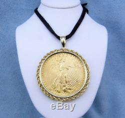 1924 $20 Saint-Gaudens Double Eagle Gold Coin Pendant, 14K Yellow Gold Bezel