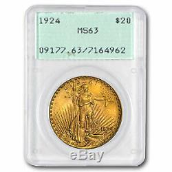 1924 $20 Saint-Gaudens Gold Double Eagle MS-63 PCGS (Rattler) SKU#41105