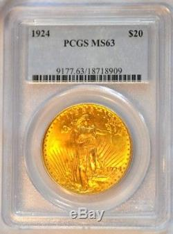 1924 $20 Saint Gaudens Gold Double Eagle PCGS Graded MS63 Nice