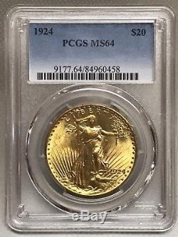 1924 $20 Saint Gaudens Gold Double Eagle PCGS MS64 Beautiful! 84960458