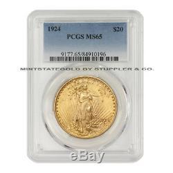 1924 $20 Saint Gaudens Gold Double Eagle PCGS MS65 Philadelphia Gem coin