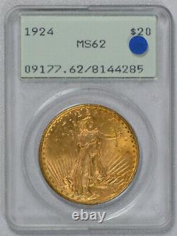 1924 $20 Saint Gaudens Gold Double Eagle PCGS graded MS 62! RATTLER OGH