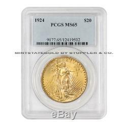 1924 $20 Saint Gaudens PCGS MS65 Gem graded Philadelphia Gold Double Eagle coin
