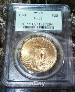 1924 $20 St GAUDENS PCGS MS63 GEM PHILADELPHIA GOLD DOUBLE EAGLE