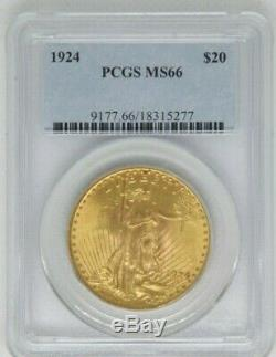 1924 $20 St Gaudens DOUBLE EAGLE Gold Coin PCGS MS66