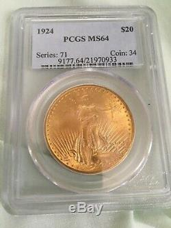 1924 $20 St. Gaudens Double Eagle Gold Coin NGC MS 64