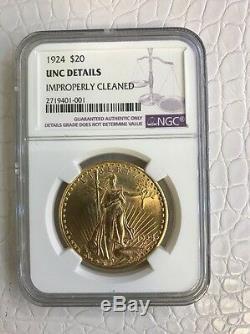 1924 $20 St. Gaudens Double Eagle Gold Coin UNC Details NGC