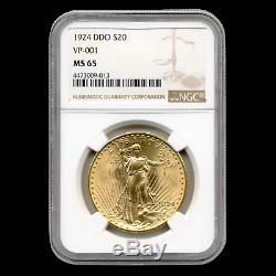 1924 $20 St. Gaudens Gold Double Eagle MS-65 NGC (DDO, VP-001) SKU#153726
