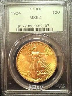 1924 $20 St. Gaudens Gold Double Eagle OGH PCGS MS62 (B17)