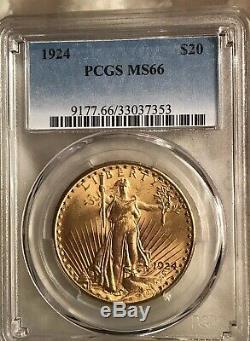 1924 $20 St Gaudens PCGS MS66 GEM Philadelphia Gold Double Eagle
