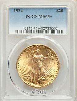 1924 $20 St Gaudens Philadelphia Gold Double Eagle PCGS MS65+