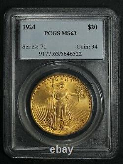 1924 $20 Twenty Dollar St Gaudens Gold Double Eagle PCGS MS 63