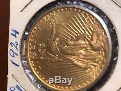 1924 Gold $20.00 Saint Gaudens Double Eagle with pendant clasp