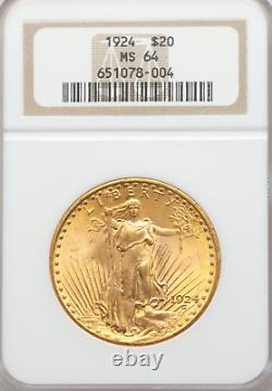 1924 MS64 Double Eagle, $20 Gold St Gaudens NGC MS64 Strong Strike withLuster
