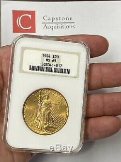 1924-P $20 Saint Gaudens Gold Double Eagle Pre-33 NGC MS65 Old FAT Holder PQ++