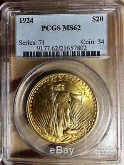 1924 P $20 St. Gaudens Gold Double Eagle MS-62 PCGS MS62 Silver Proof Troy Ounce