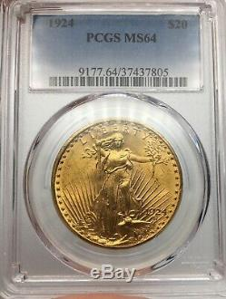 1924 PCGS MS64 Gold Saint Gaudens Double Eagle Stunning Luster Gem Coin
