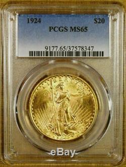 1924 PCGS MS65 $20 Saint Gaudens Gold Double Eagle