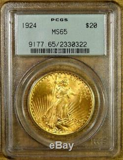 1924 PCGS MS65 $20 Saint Gaudens Gold Double Eagle Old Green Holder