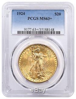 1924 Saint-Gaudens $20 Gold Double Eagle PCGS MS63+ SKU53231
