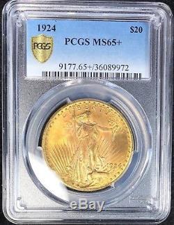 1924 Saint Gaudens Gold $20 Double Eagle Pcgs Ms65+ Plus