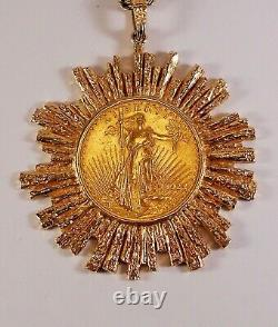 1924 St. Gauden Liberty Double Eagle Gold Coin Pendant Necklace 91 Gr Stunning