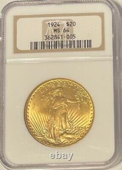 1924 St. Gaudens 20 Dollar Gold Double Eagle NGC MS 64 Beautiful Coin