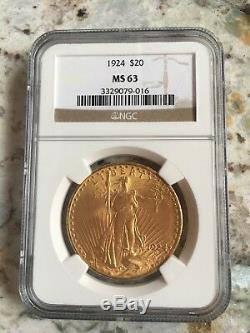 1924 St. Gaudens Double Eagle $20 Gold Coin NGC MS-63