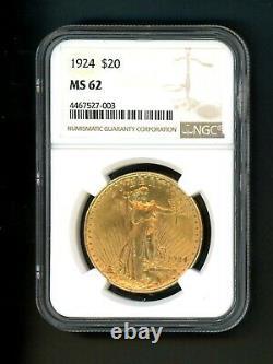 1924 US $20 Gold Saint Gaudens Double Eagle $20 NGC MS 62 Choice Gem Type Coin