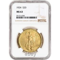 1924 US Gold $20 Saint-Gaudens Double Eagle NGC MS63