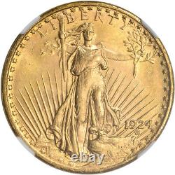 1924 US Gold $20 Saint-Gaudens Double Eagle NGC MS64