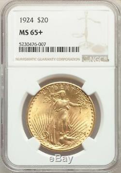 1924 US Gold $20 Saint Gaudens Double Eagle NGC MS65+