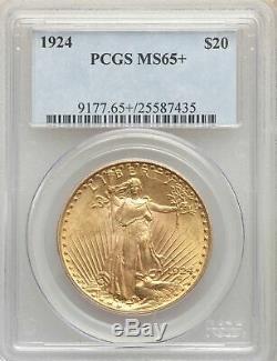 1924 US Gold $20 Saint Gaudens Double Eagle PCGS MS65+