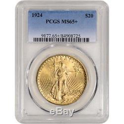 1924 US Gold $20 Saint-Gaudens Double Eagle PCGS MS65+ Plus Grade