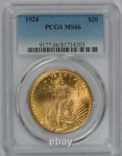 1924 US Gold $20 Saint Gaudens Double Eagle PCGS MS66 Gem plus