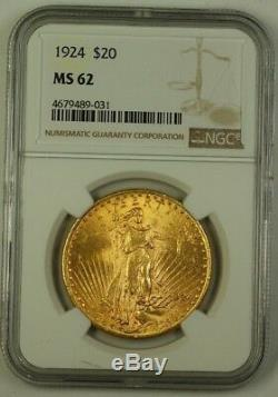 1924 US St. Gaudens $20 Double Eagle Gold Coin NGC MS-62 (Better) A