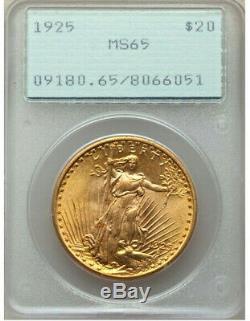 1925 $20 GOLD PCGS MS65 OGH RATTLER St. GAUDENS DOUBLE Eagle Dollar GEM